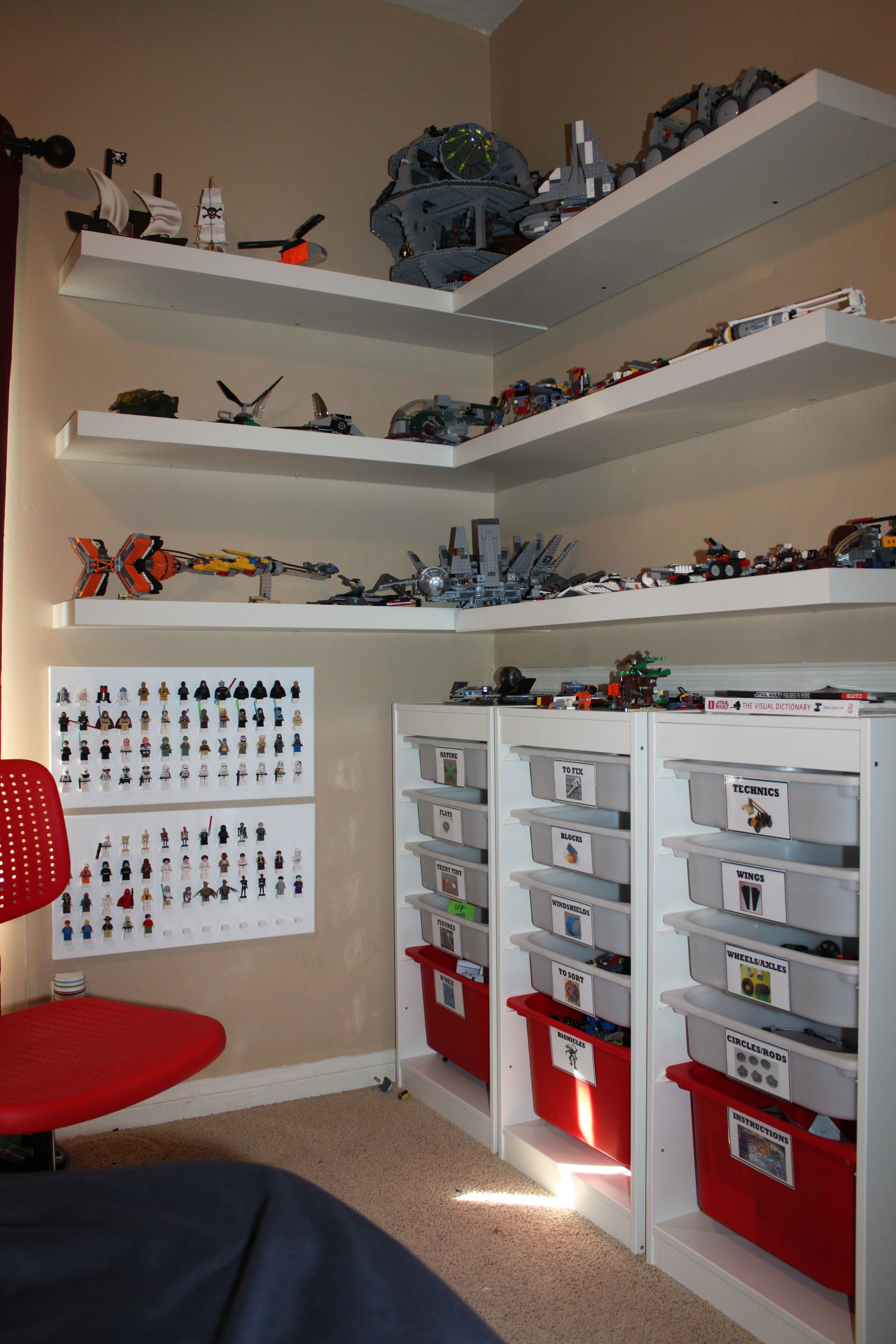 clay lego corner creation station made using ikea shelves and floating for display drawers laminated labels stuck them the with glue dots white shoe storage will command hooks