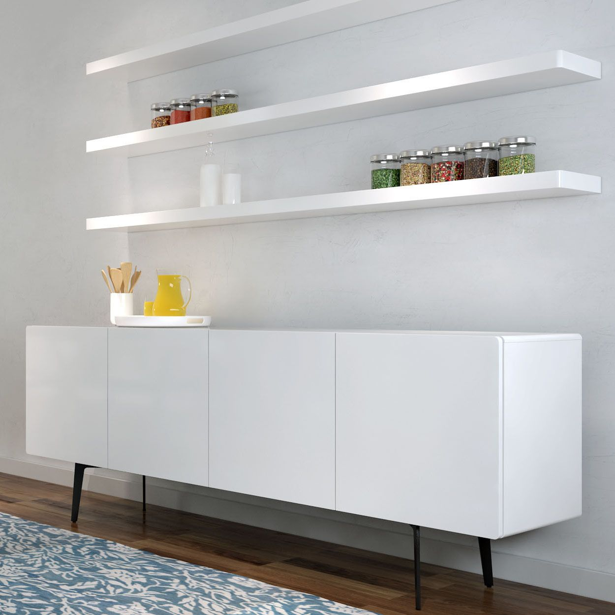 clean white floating shelves above long cabinets placed gloss shelf simple room with laminate oak flooring self adhesive underlay outdoor shoe cupboard cubby ideas hidden bookcase