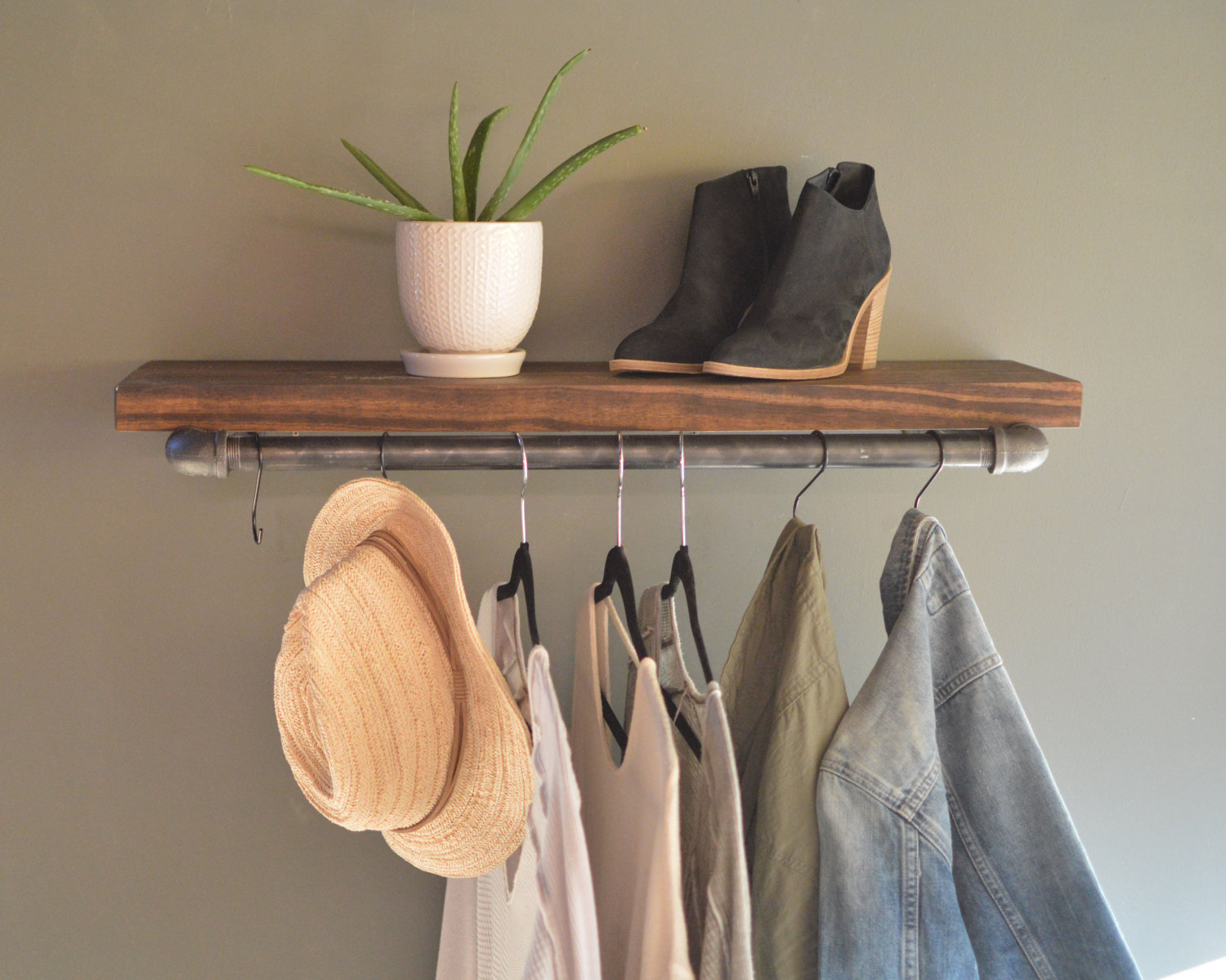 clothing display rack with floating shelf industrial retail etsy fullxfull exus shelves overhead garage storage design your own walk closet oak for fireplace kitchen open living