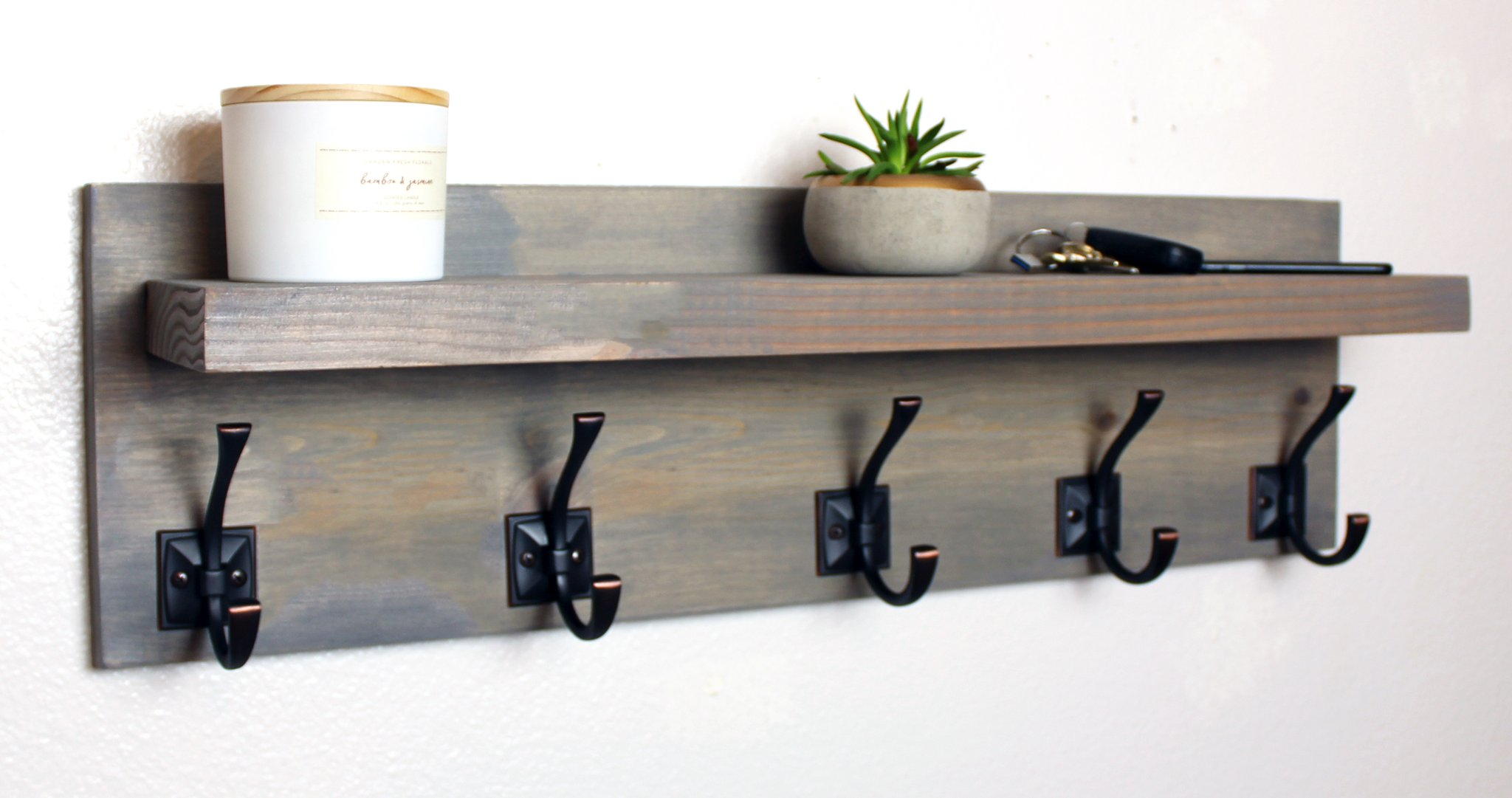 coat rack with floating shelf and bronze hooks kbndecor img edited weathered gray farmhouse storage hat the range shelves light oak shelving unit plastic racks for kitchen units