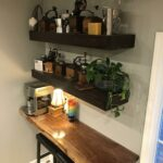 coffee bar and floating shelves made for our kitchen top black walnut are stained cedar fence boards shower wall shelf mounted bracket stand dish storage closet home countertop 150x150