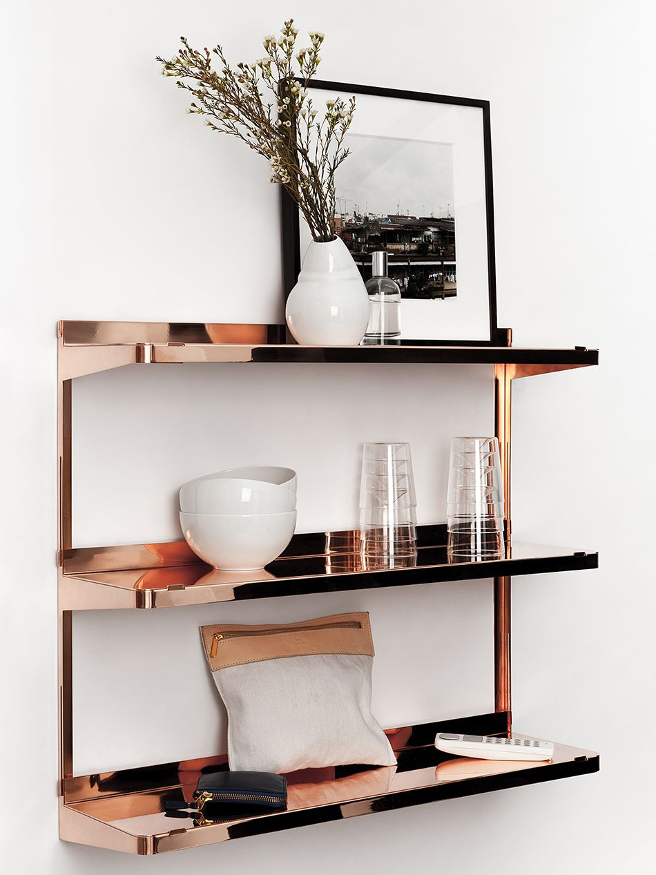 copper shelving unit amazing ideas shelf rose gold floating shelves free wall custom wood corner support rods black hanging cream for bedrooms cube cupboard ikea speaker mounts