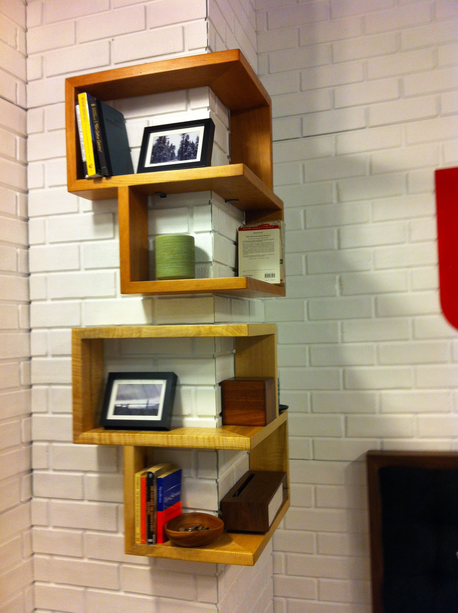 corner bookshelf ikea with wall design and wooden material also floating shelf unit white brick walls for modern interior home peel stick installation reclaimed pine shelves