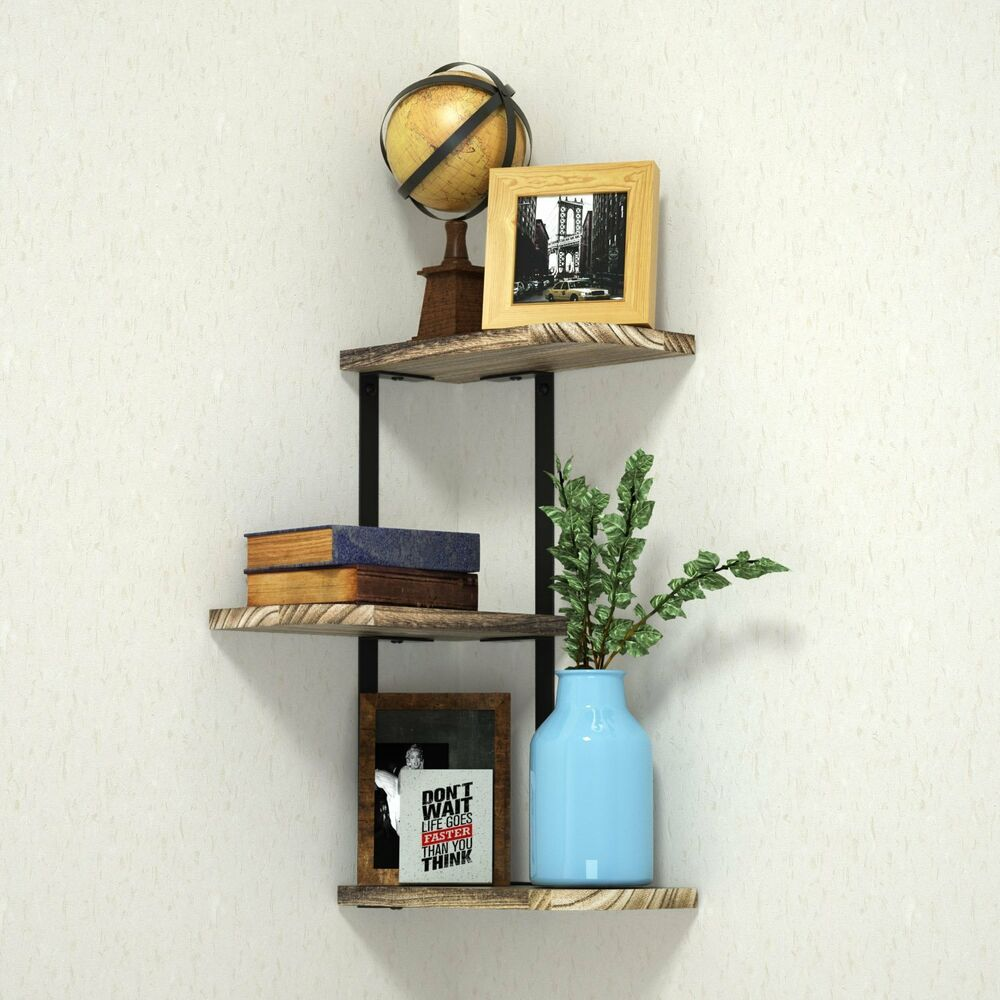 corner shelf wall mounted tier rustic wood floating shelves home office design details about decor bathroom rack white shoe cabinet simple garage plans dvd portable island counter