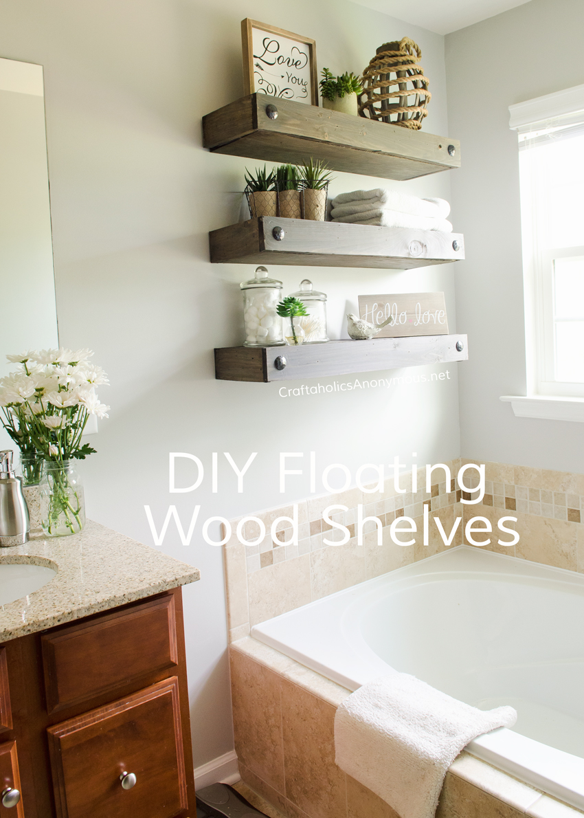 craftaholics anonymous diy floating shelves wood white bathroom hanging tures and hand forged shelf brackets knick knack next mirror stone fireplace closet height hidden wall