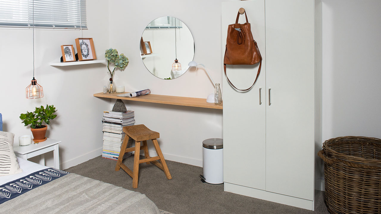 create scandinavian bedroom diy inspiration mitre floating shelf simply changing the handles out another wooden handle serves handy place hang things overall room has nice calming