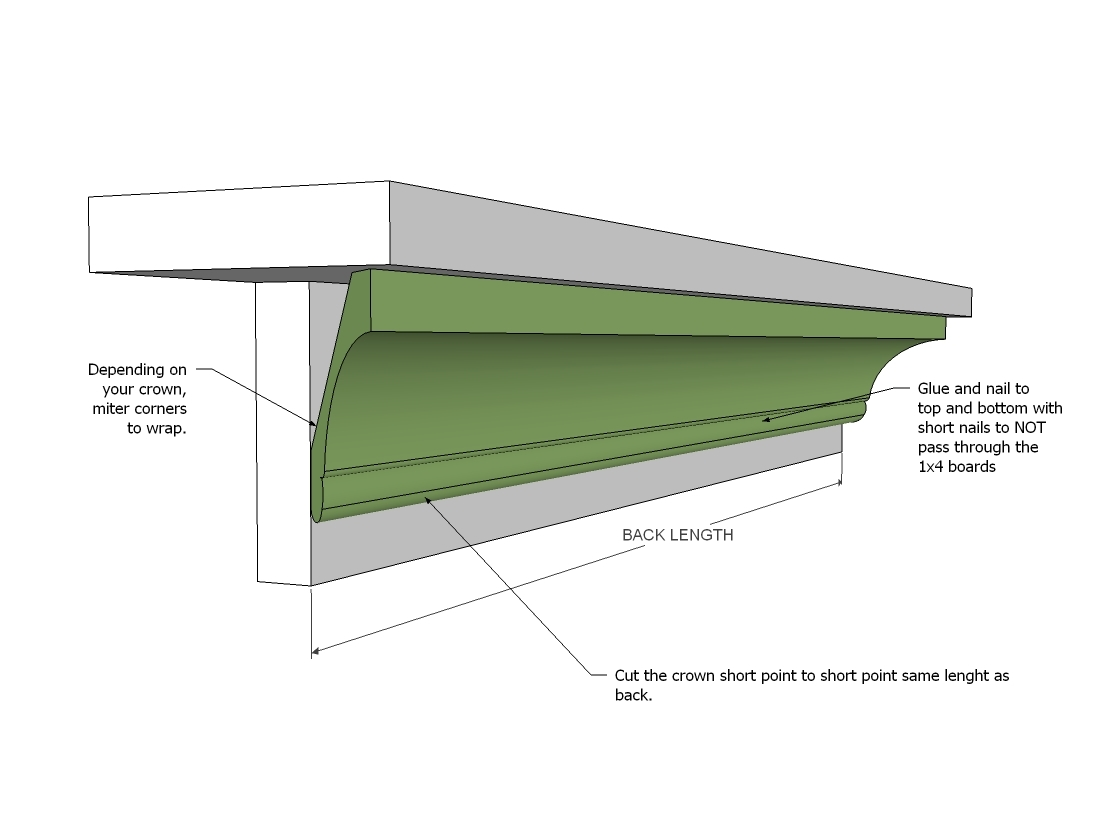 crown ledges ana white molding floating shelf plans start with the center piece cut along bottom edge shortest point length your back ends are mitered outward glass shelves for