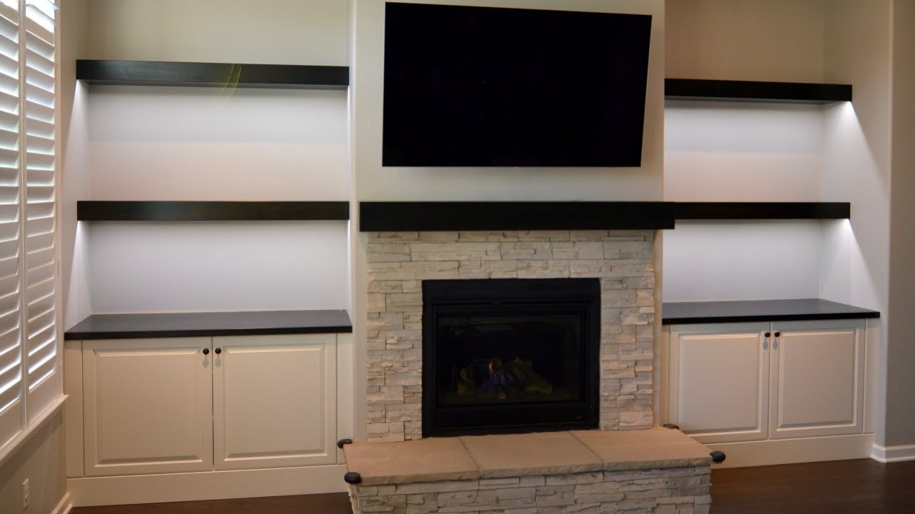 custom built cabinets floating shelves and fireplace mantel with wall shoe rack designs portable butcher block island tures ikea desk hack reclaimed ture ledge depth shelf leather