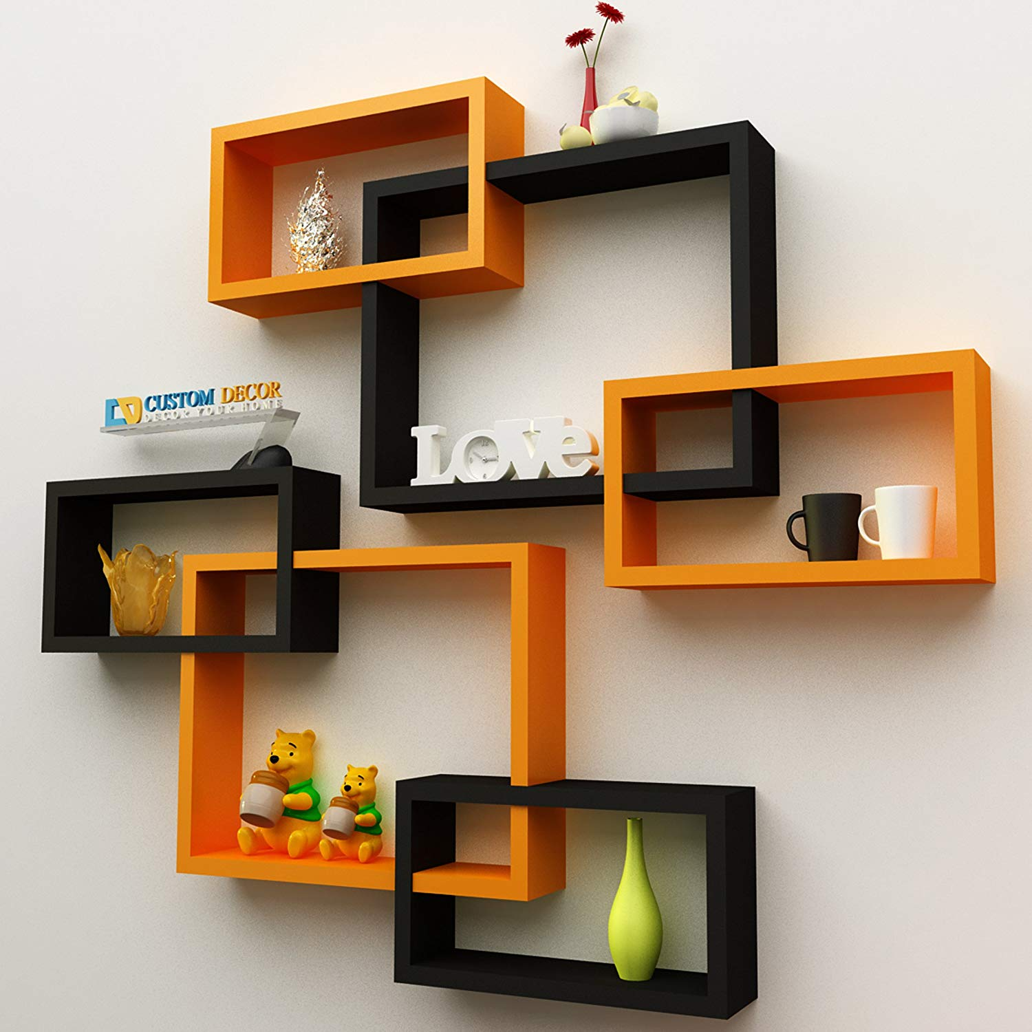 custom decor wall shelf rack set intersecting floating shelves giosup design tures storage for home orange black kitchen mitre melamine towel rail with fold down desk ikea rustic