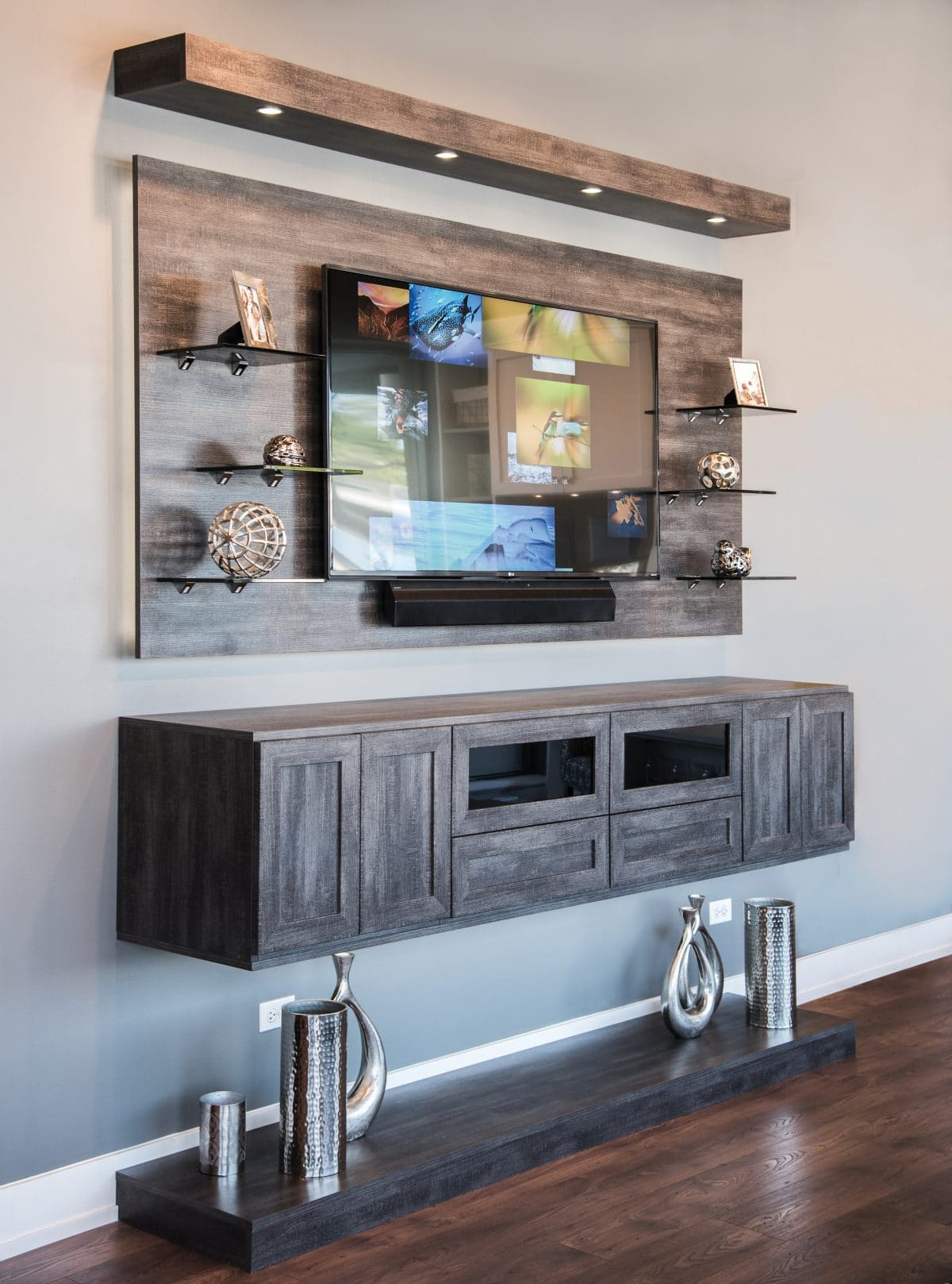 custom entertainment centers floating river rock media center glass shelves for iron and wood bookcase diy storage ideas small spaces shelf spacing bookshelf display ture frames