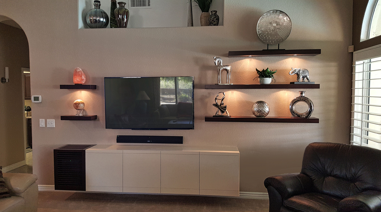 custom entertainment centers phoenix modern wall units white painted with floating shelves paul rene shelf unit wood crown molding steel brackets bunnings kitchen rolling cart