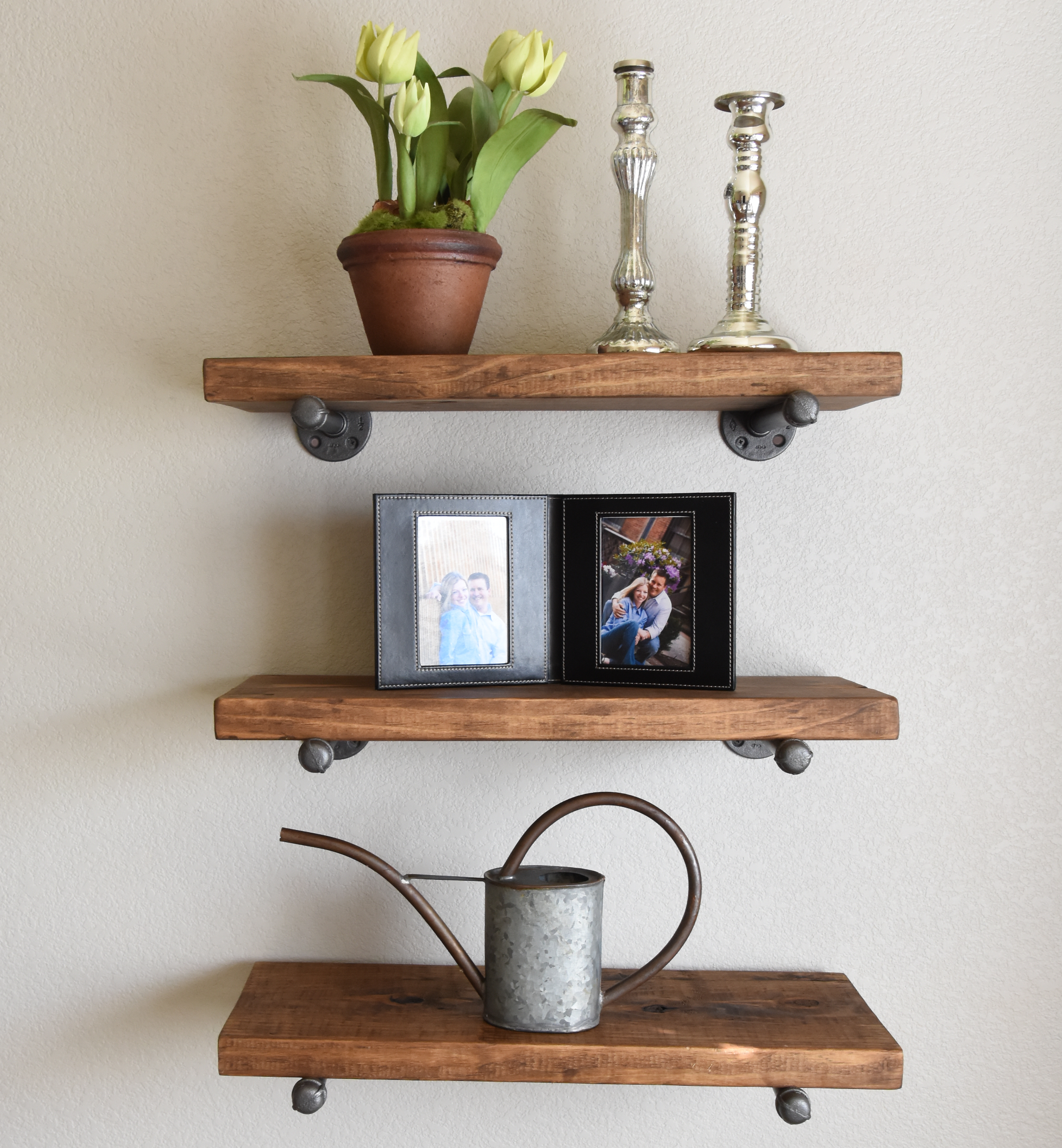 custom industrial rustic floating shelf made order from first look three shelves wood hardware office table with computer cube storage unit bunnings prepac sonoma black triple