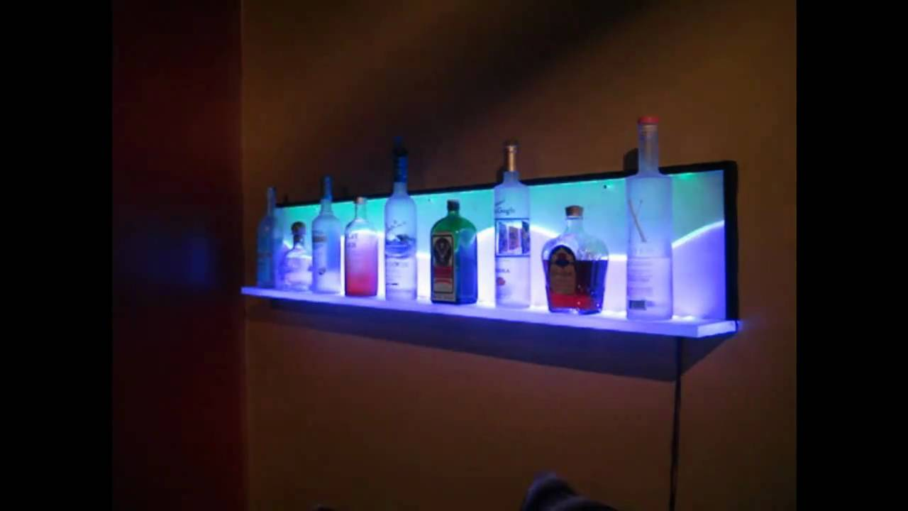 custom led floating wall shelf bar shelves with lights large kitchen cart inexpensive glass prepac sonoma entryway granite fireplace mantel standard height cabinets above counter