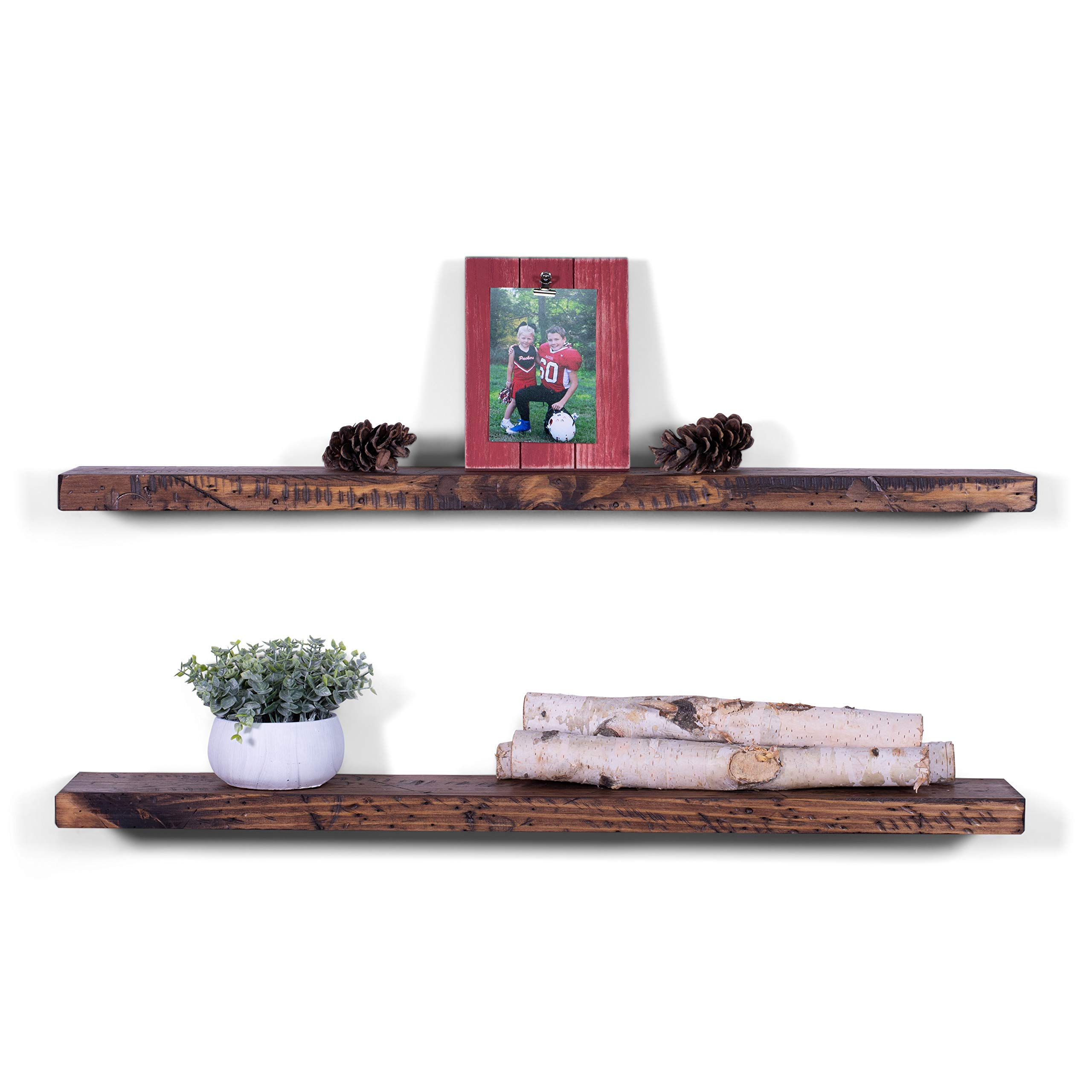 dakoda love deep rugged distressed floating inch shelf shelves usa handmade clear coat finish countersunk hidden brackets beautiful grain woodland home decor diy small bathroom