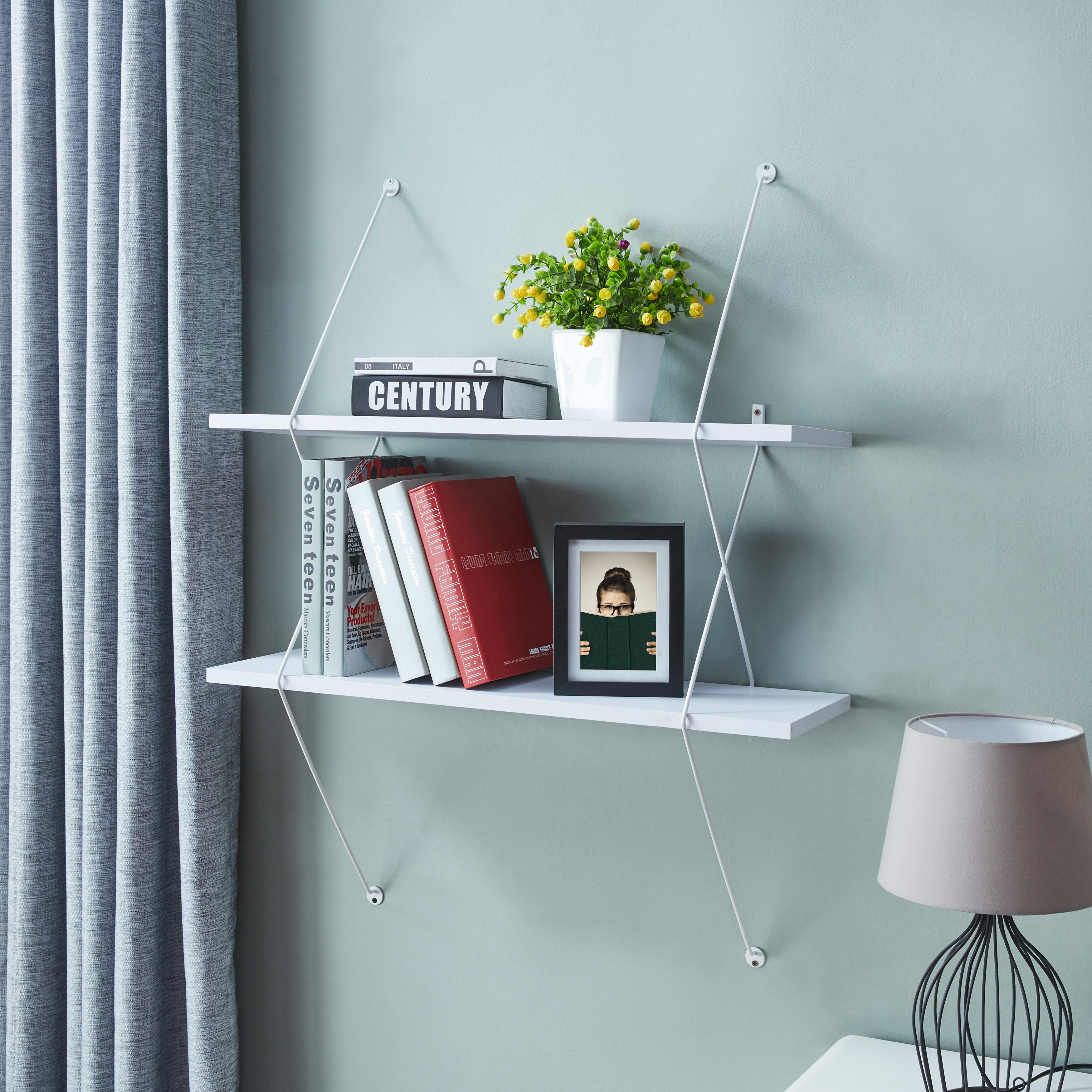 danya contemporary two level wall shelf with wire brackets white floating masters wooden bath metal shelving unit hanging tures drywall without nails computer desks for home
