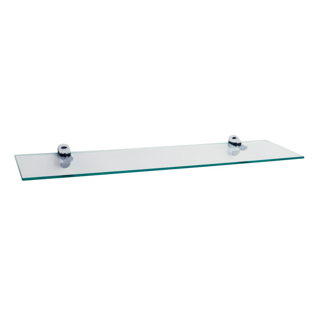 danya pristine clear glass floating shelf with decorative shelving accessories tempered chrome brackets wire depth mudroom wall height above counter corner shelves bathroom