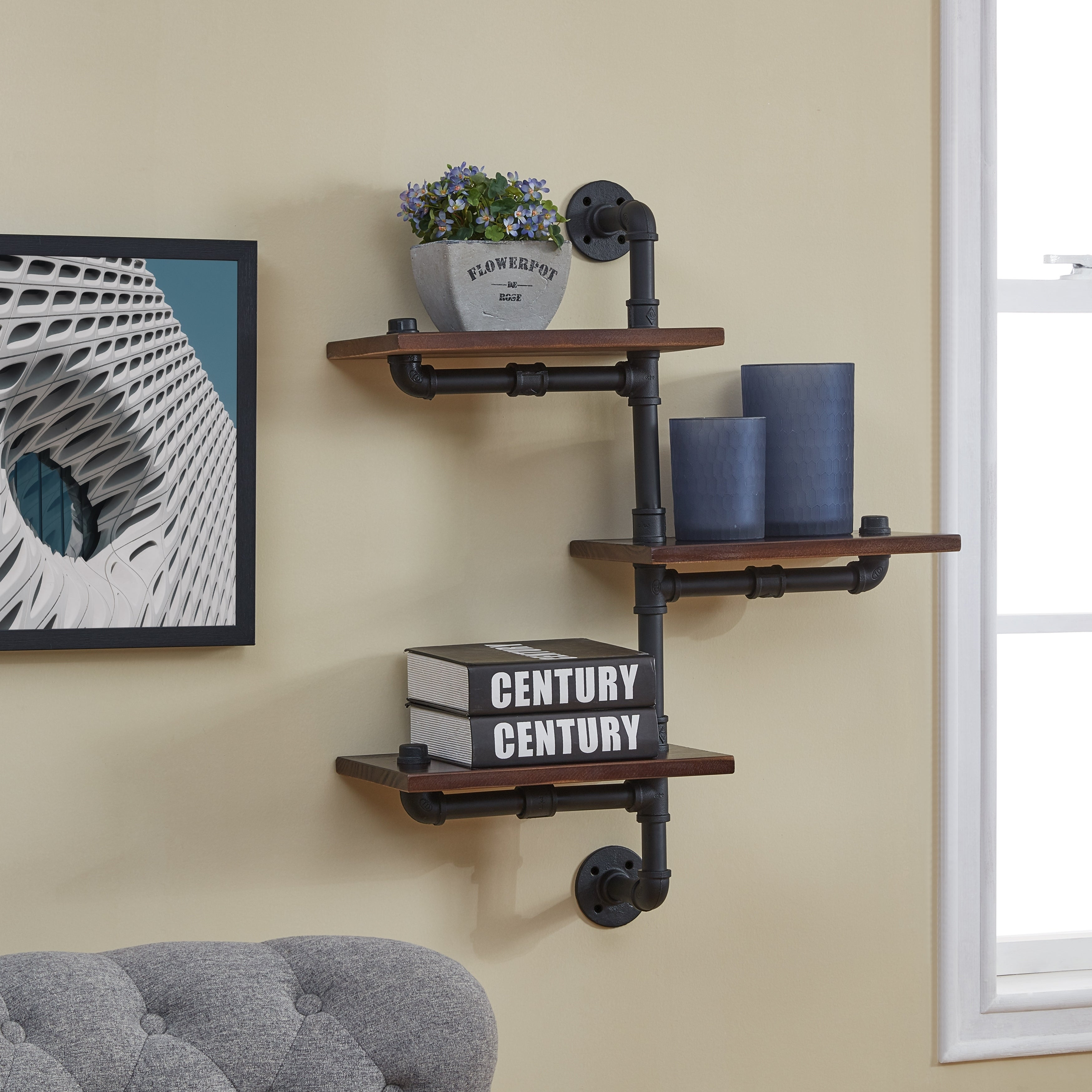 danya tier vertical staggered industrial rustic pipe shelves floating kitchen inch deep shelf wooden cubes bunnings modern wall ideas utensils storage containers free fireplace