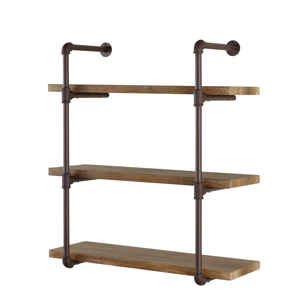 danya urbanne industrial aged tiered wood print mdf and metal brown tan decorative shelving accessories floating wall shelves pipe shelf desk closet design coat rack kit fermod