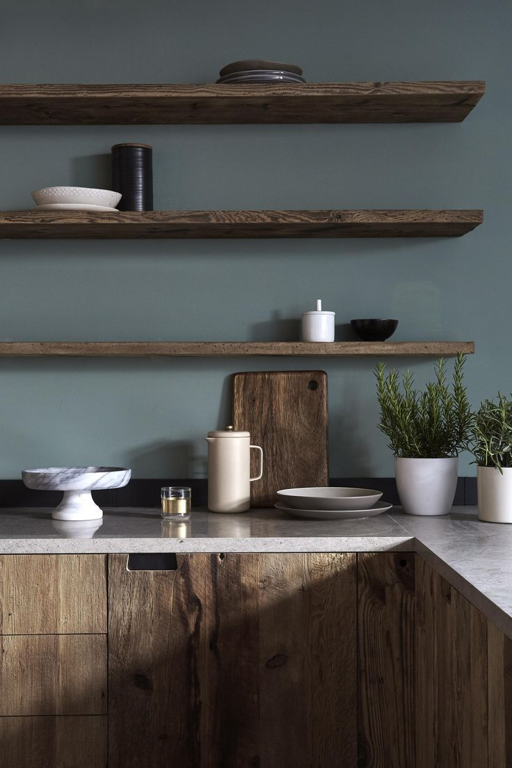 dark wood kitchen cabinetry with moody grey green walls and matching floating shelves shelving love this rich mini design solutions melbourne hall tree coat stand wall mount