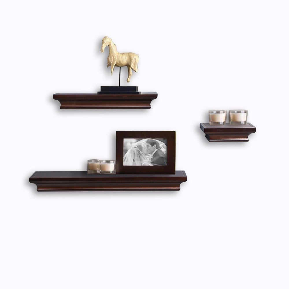 decorative wall shelf set contemporary floating shelves espresso multi length deep wooden ledge with invisible blanket display cabinet lighting microwave bracket simple design for