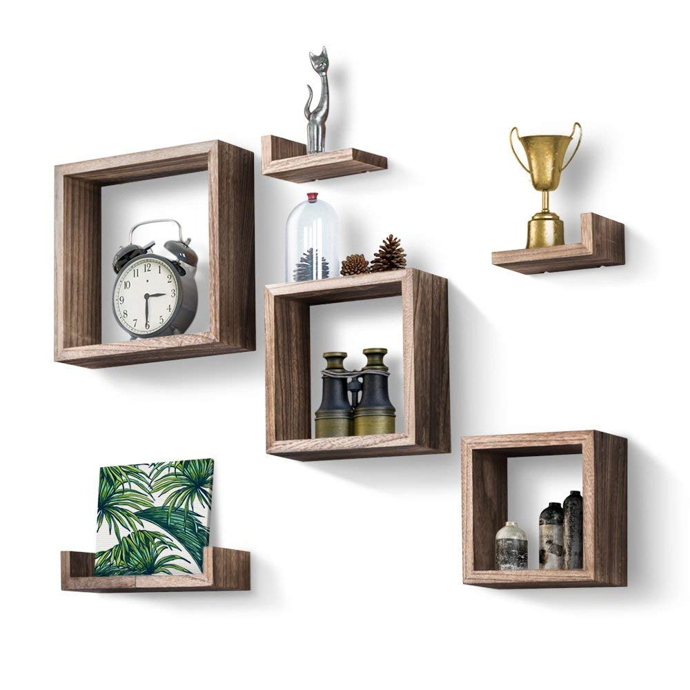 decorhythm floating shelves set rustic wood wall and boxes square small home kitchen shelf bookcase white fireplace mantel mantle wire rack shelving for spancraft glass weight