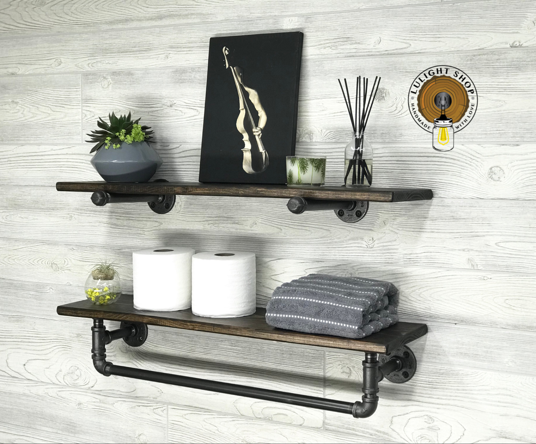 deep towel bar with shelf and extra floating etsy fullxfull plastic garage racking fireplace ledge diy work shelves dvd box corner wall unit ikea wooden shoe bench prepac sonoma