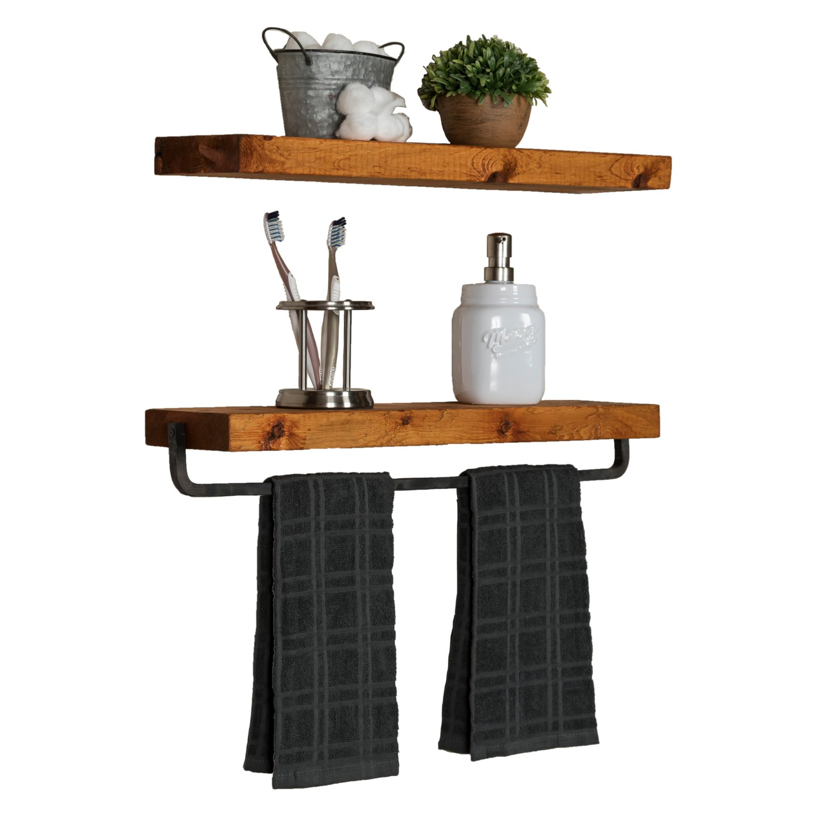 del hutson true floating shelf with towel bar set detail shelves for drywall without studs cube wall unit small glass corner desk danish armchair dish storage shelving units