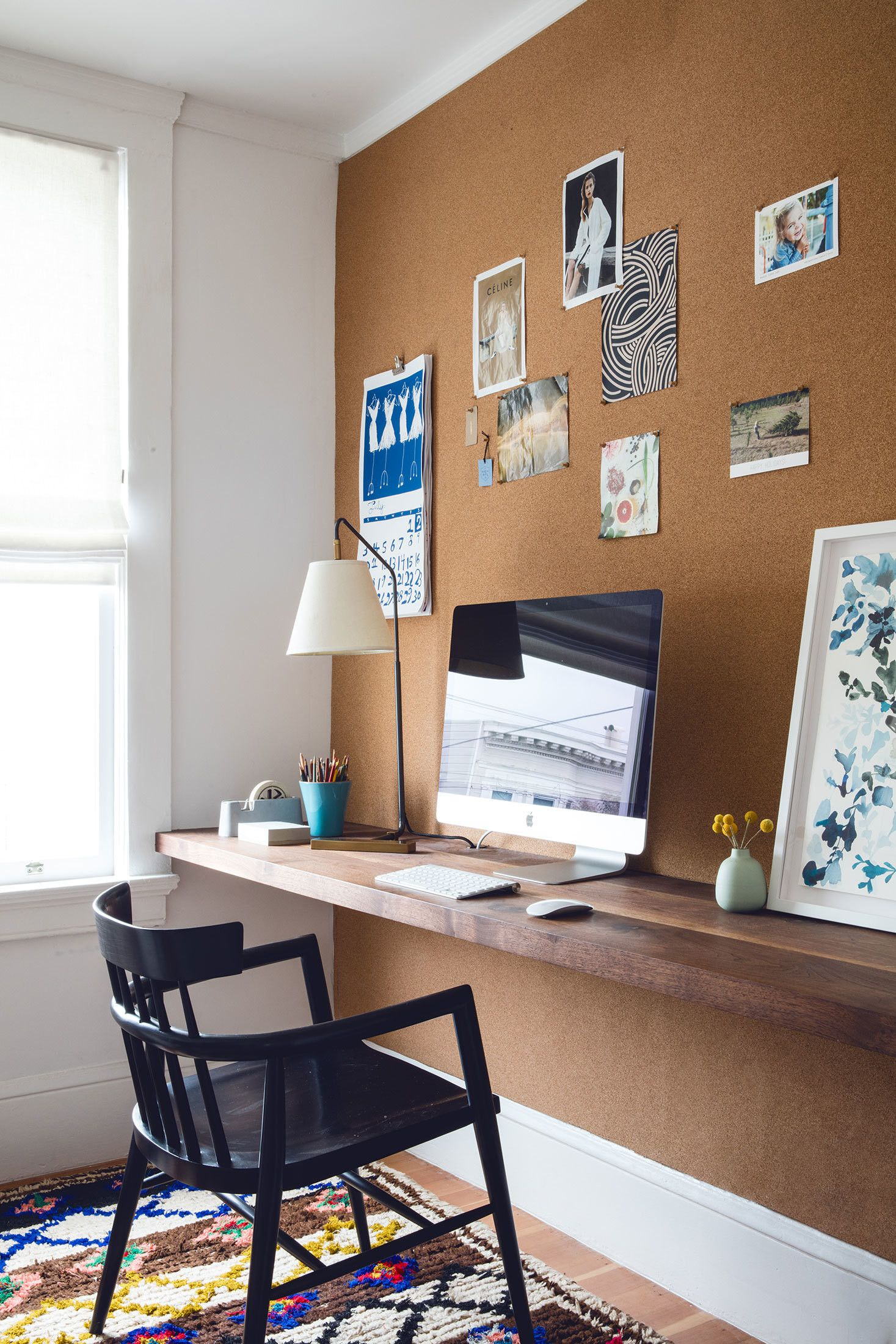 designer secrets chic ways trim your decorating budget diy floating shelves office design katie martinez san francisco workspace shelf desk with cork wall threshold one echogear