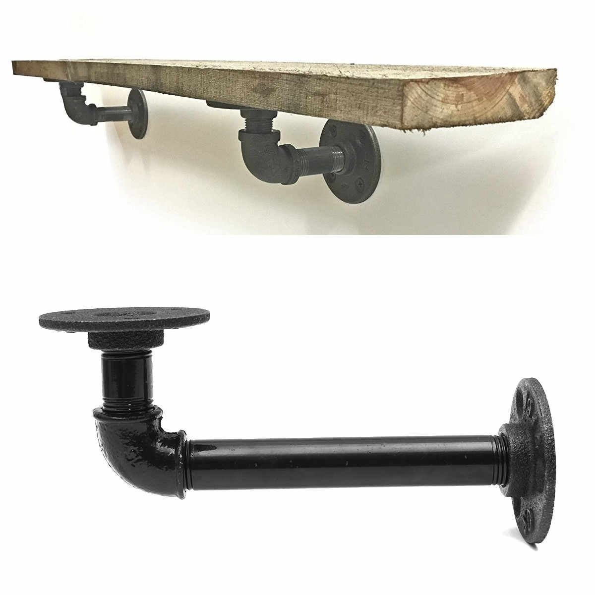 detail feedback questions about pcs bracket wall floating shelf vintage retro black iron industrial pipe holder brackets glass over bathroom sink brick without drilling ikea shoe