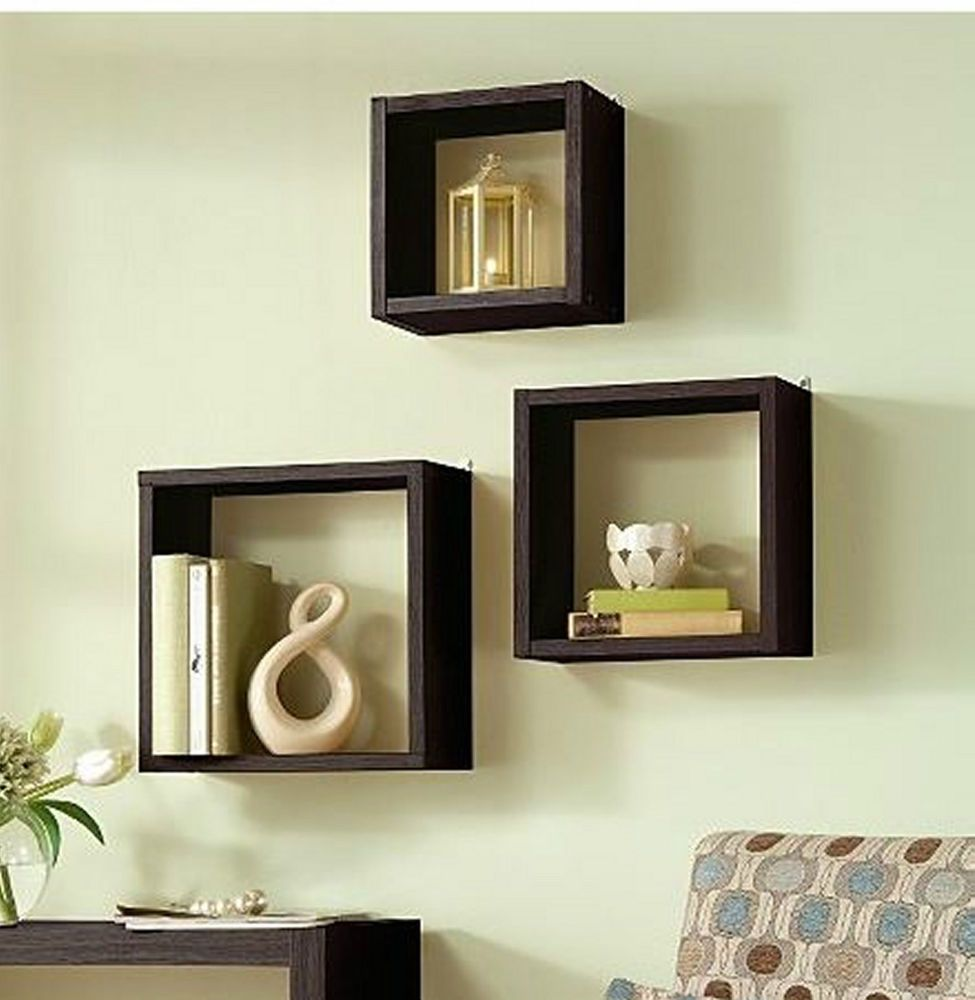 details about floating wall cube box shelf shelves light oak dark walnut set modern small kitchen trolley wheels drill brush canadian tire diy hidden cabinet shoe stand ikea two
