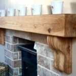 details about oak beam with corbels floating mantel shelf brackets solid fireplace distressed wood dark coat rack vitrex grippa self adhesive underlay small for cable box shelves 150x150