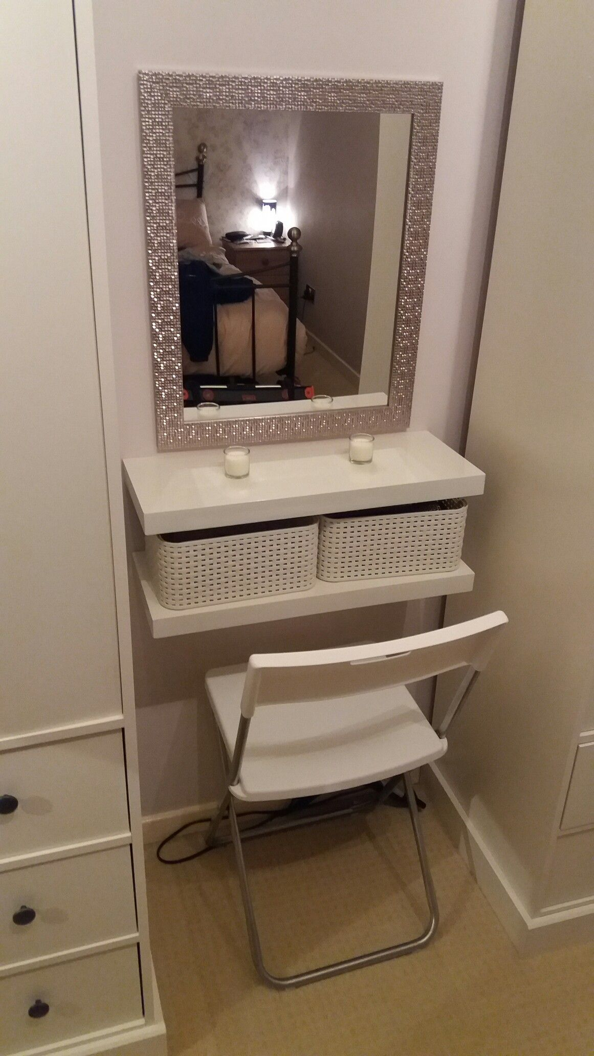 diy dressing table floating shelves crates seat and mirror makeup shelf very small bathroom storage ideas custom shelving wooden cart bracket size for foot pipe hardware thin unit