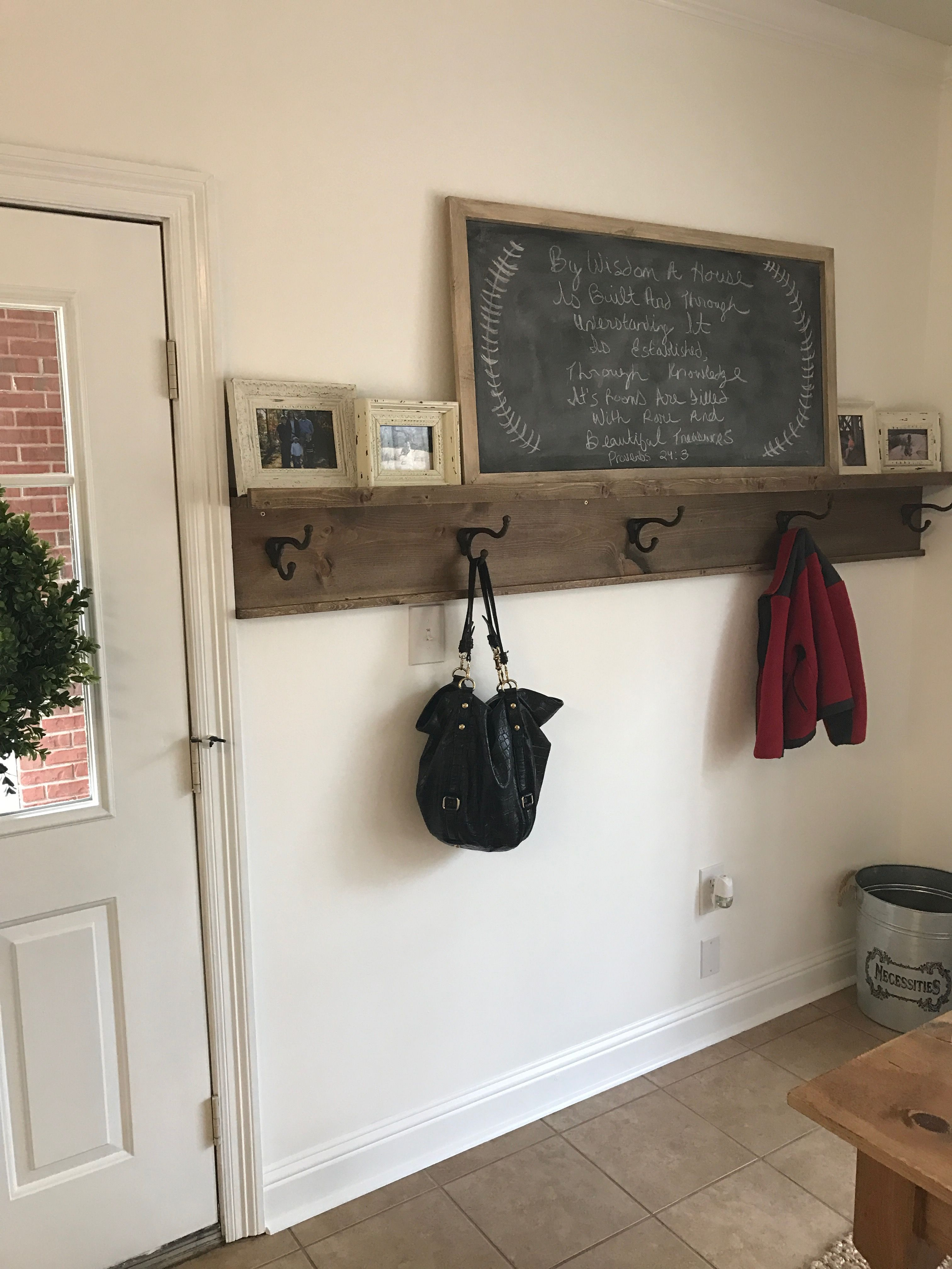diy entryway coat rack with ture ledge shelf needed something floating and hang coats backpacks etc the back door this fits bill perfectly invisible wall brackets ikea thin wal