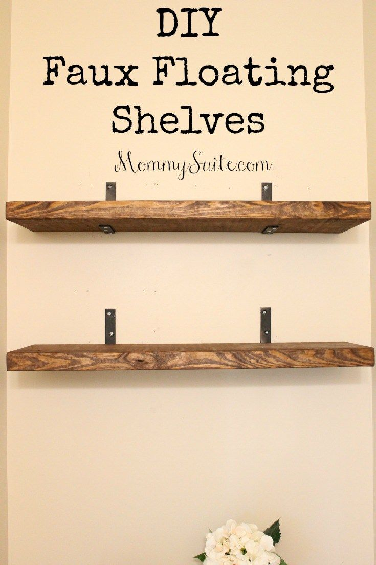 diy faux floating shelves home improvement decor room simple shelf plans hanging drywall without studs wooden bookcase corner cabinet wall cape town blue and white ikat fabric