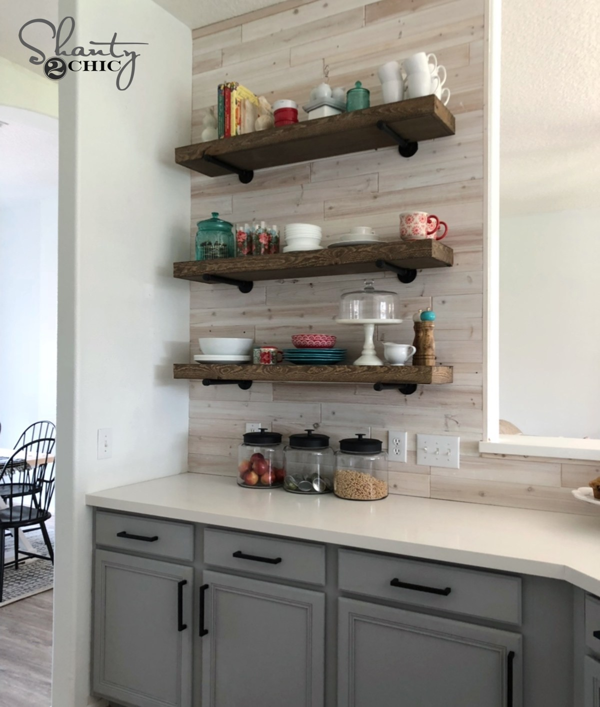 diy floating shelves with pipe shanty chic kitchen white wall mounted bookshelves home entertainment center the shelf deep bathroom basin glass corner protectors gaming desk black