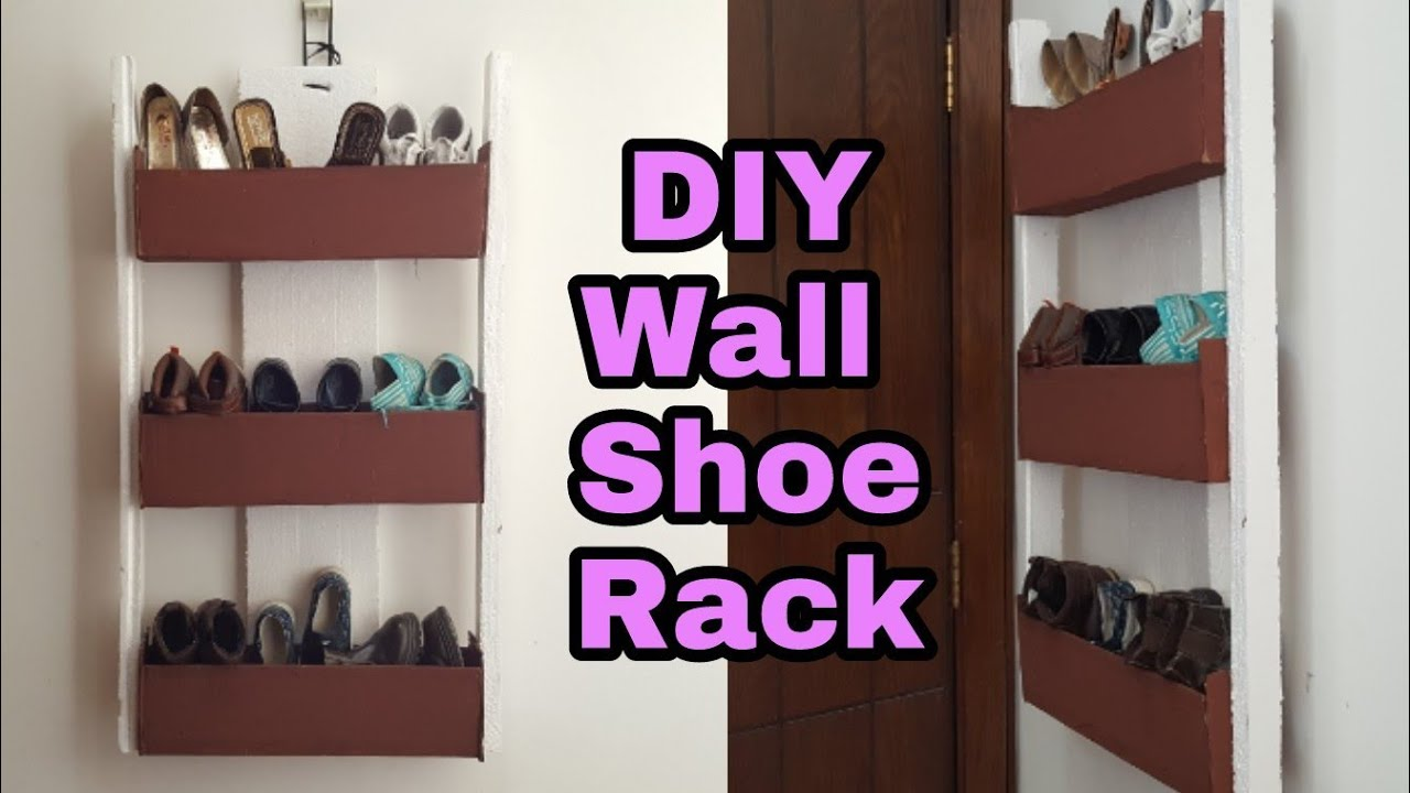 diy how cardboard shoe rack organizer wall floating shelf door command adhesive heavy duty large mounted coat bookcase metal dark wood shelves inch depth bathroom with built