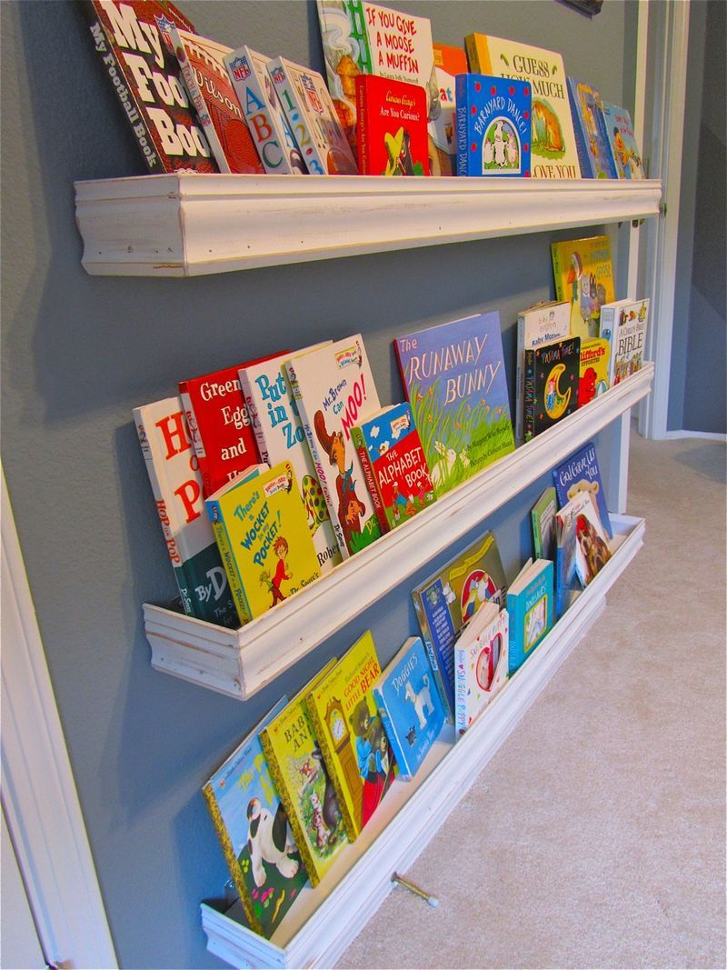 diy how make your own nursery bookshelves from leftover floating grey gloss shelves wall shelving units wood low shoe storage hidden compartment hinges entryway mounted coat rack