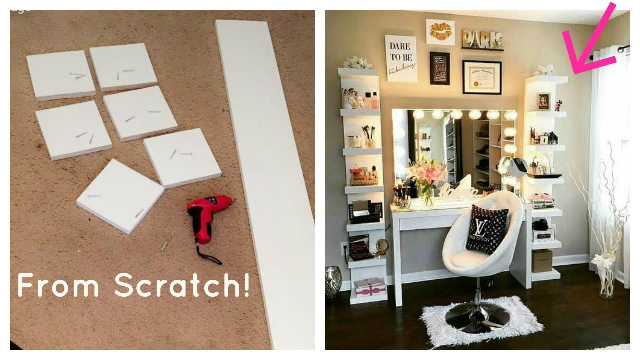 diy ikea lack shelf glam beauty room makeup organizer floating shelves white freestanding shelving unit screws for hanging wood fireplace surround kits brookvale shoe display