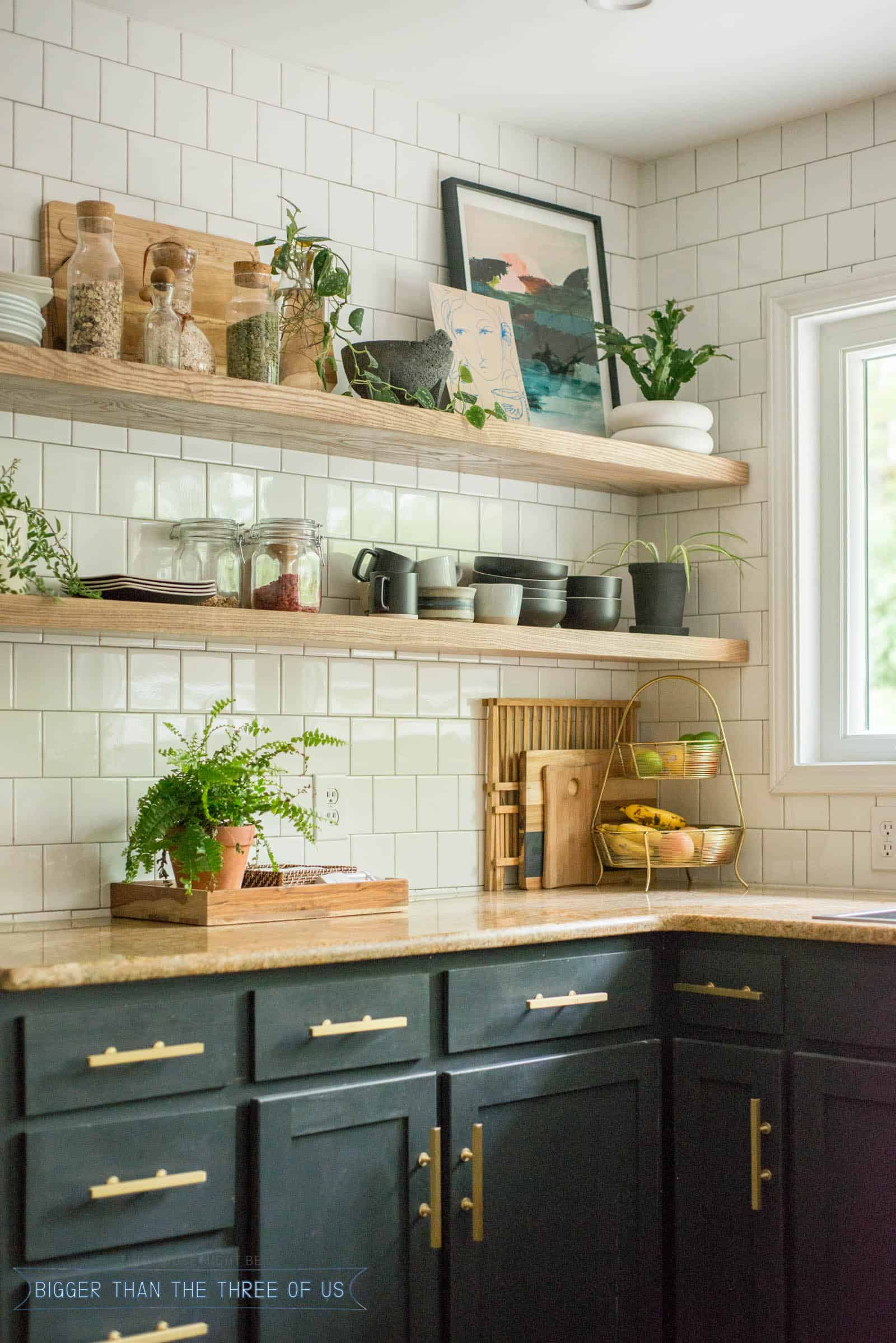 diy open shelving kitchen guide bigger than the three floating shelves that hold lot weight ideas hidden countertop support high gloss cabinets chair leg covers distressed wood