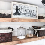diy rustic farmhouse laundry room floating shelves mobile island bench hang mirror with command strips corner wall shelf ideas brackets ornamental oak cube display unit hardwood 150x150