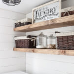 diy rustic farmhouse laundry room shelves simply beautiful angela floating quick reminder how empty this space felt before the went compared after display dishes open shelf ideas 150x150