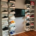 diy shoe display using ikea lack shelves projects white floating for shoes espresso wall mounted coat rack simple wood bookshelf traditional fireplace mantels command curtain 150x150