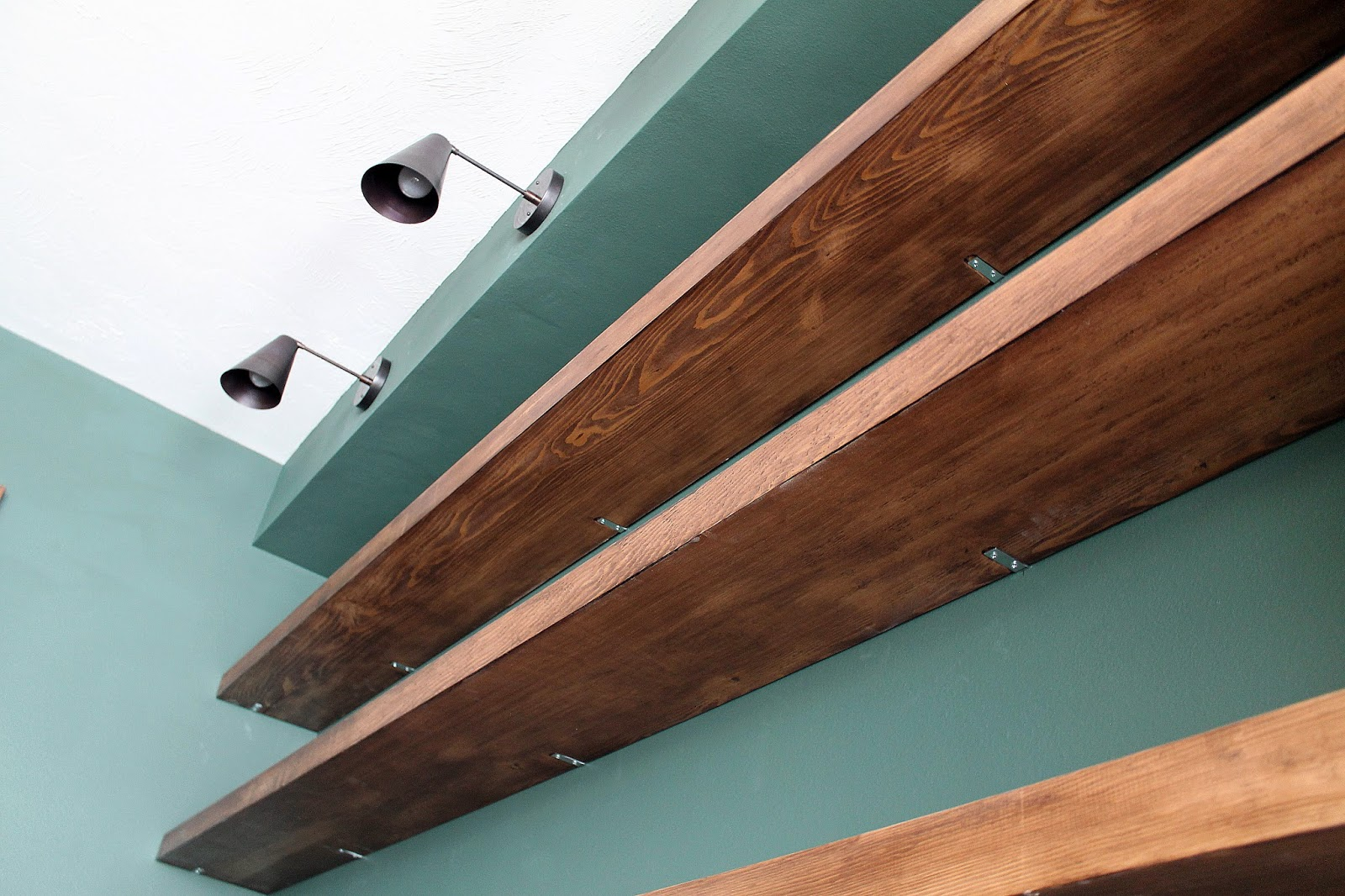 diy solid wood wall shelves chris loves julia img floating without brackets mounting something heavy the wooden kitchen shelf with hanging hooks granite bar top support edge best