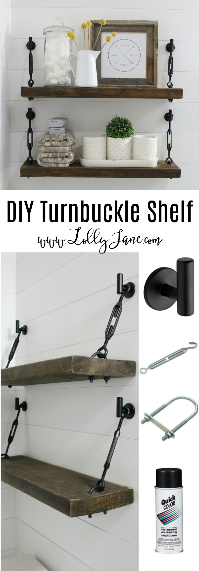 diy turnbuckle shelf great bathroom addition lolly jane floating brackets tutorial learn how easy make these shelves portable kitchen cabinets for entertainment center inch wide