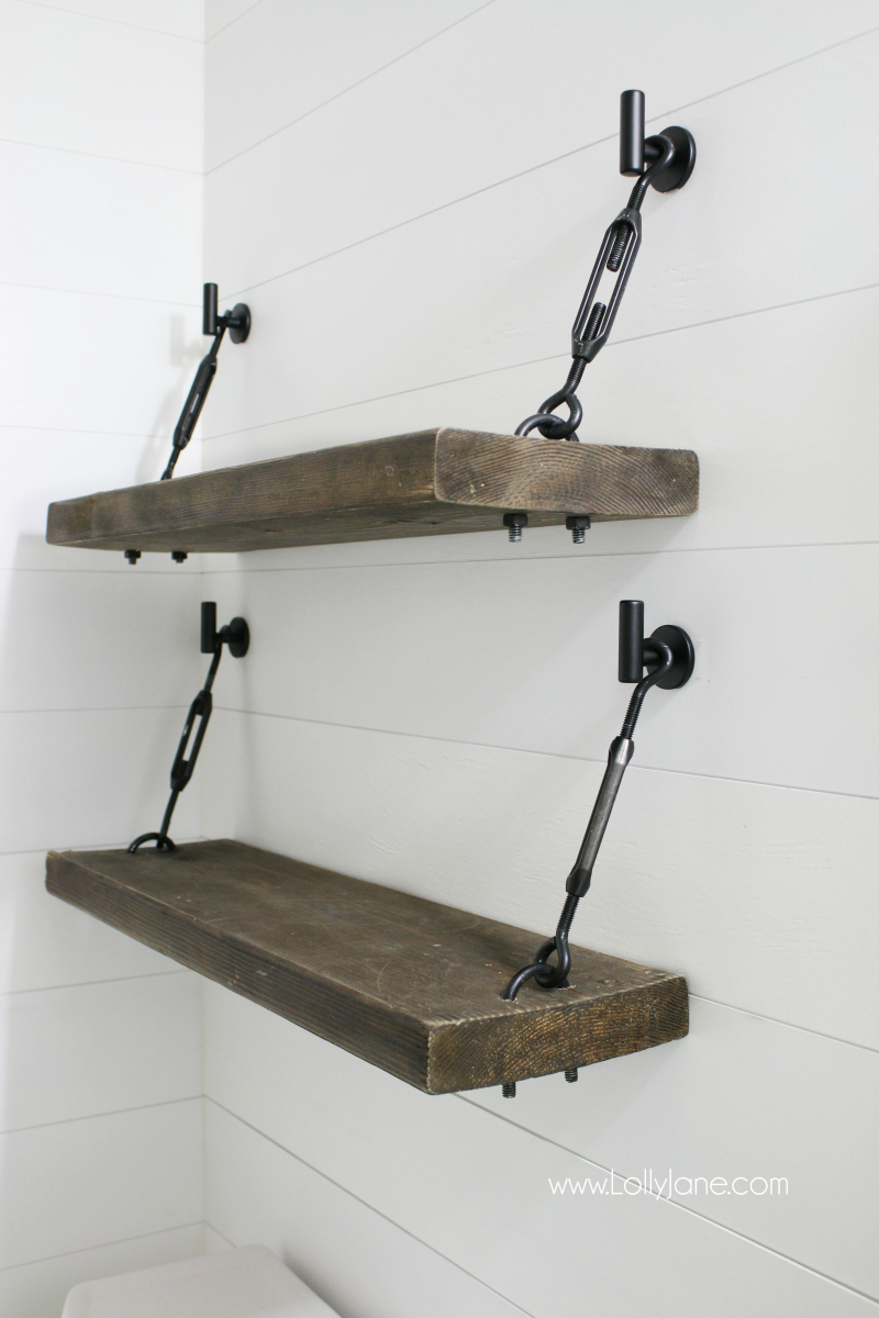 diy turnbuckle shelf great bathroom addition lolly jane hardware kit floating brackets check out these pretty shelves tutorial for easy ledge set support systems beam mantles