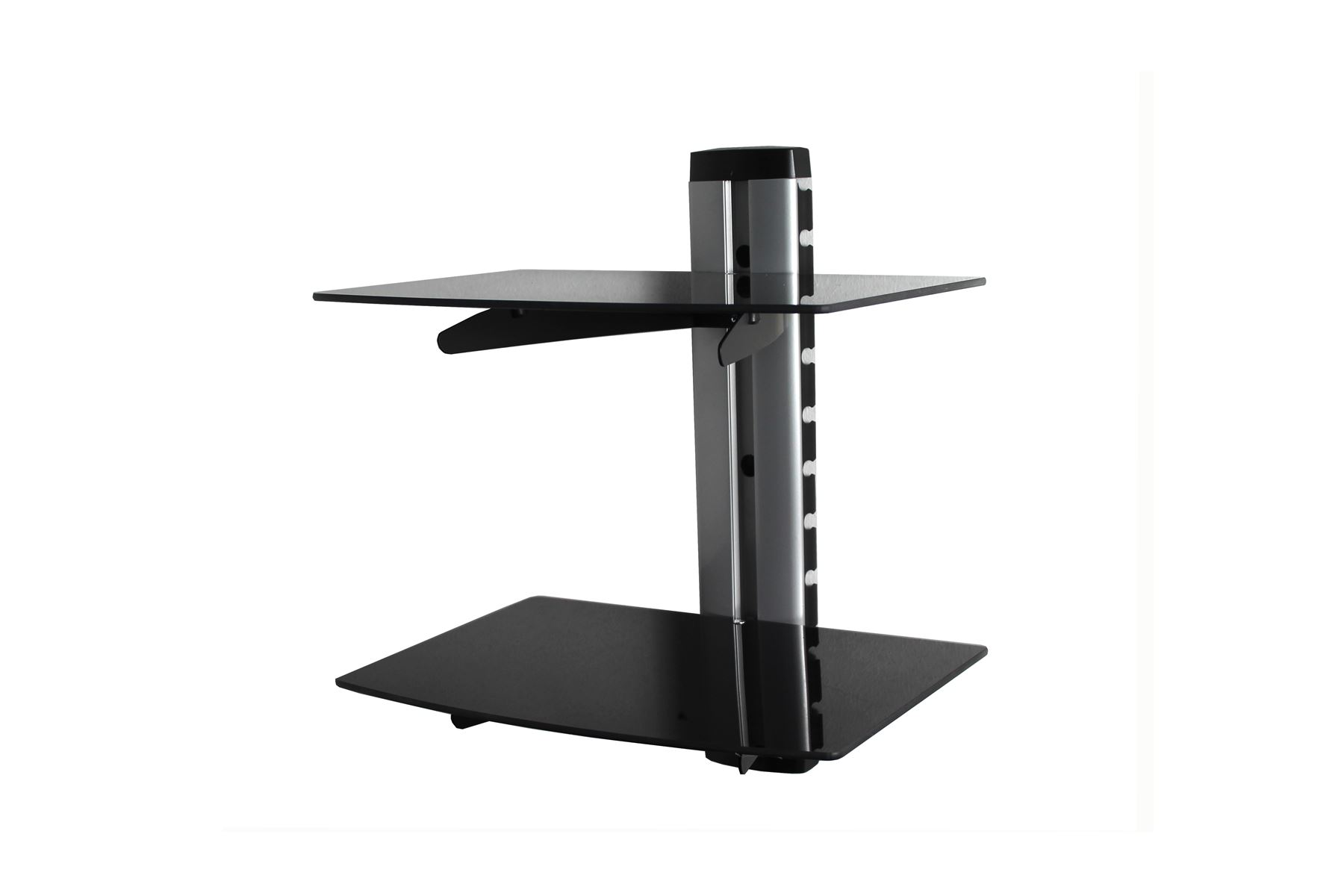 double tier floating glass shelves for dvd sky box wall mount details about bracket laying vinyl floor tiles over existing inch deep shelf insert triangle corner kitchen food