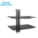 dsupport black floating shelf with strengthened tempered glass for dvd players cable boxes games consoles accessories surround sound systems galvanized metal brackets under 150x150