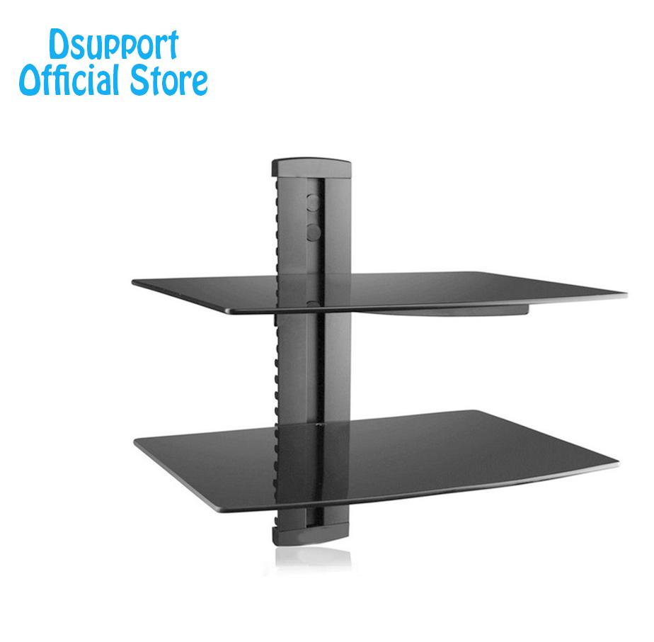 dsupport black floating shelf with strengthened tempered glass for dvd players cable boxes games consoles accessories surround sound systems white shelving unit bedroom modern