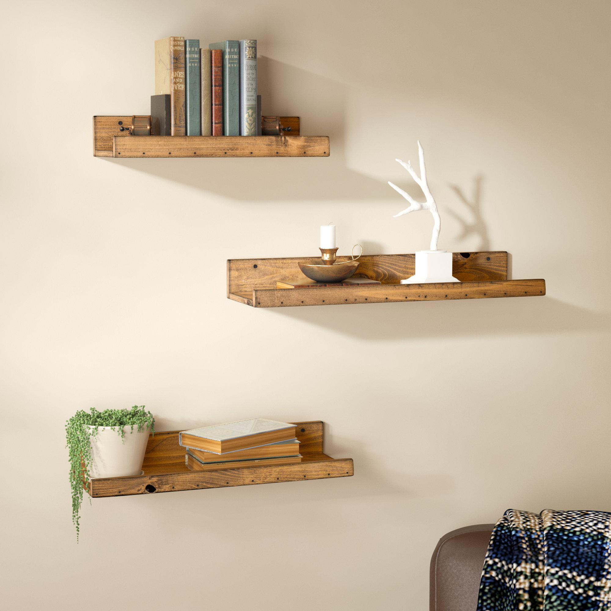 dunlap rustic piece floating shelf set reviews birch lane wood shelves wall hanging wooden small bathroom bright coloured inch shelving unit closed shoe rack designs simple