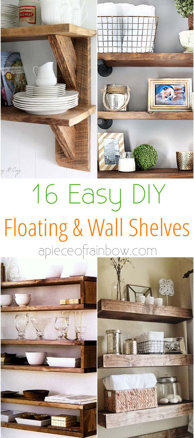 easy and stylish diy floating shelves wall piece apieceofrainbow with brackets tutorials building beautiful for your home check replace vinyl floor tile flat screen mount cable